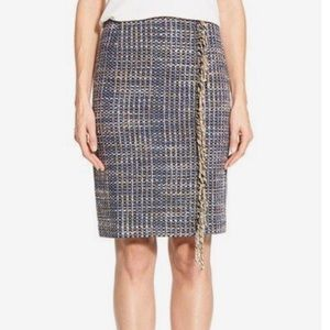 Halogen Tweed Fringe Pencil Skirt Wool Blend